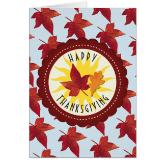 Happy Thanksgiving Sky and Fall Leaves Card