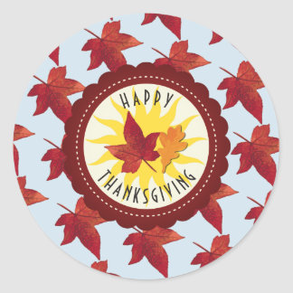 Happy Thanksgiving Sky and Fall Leaves Classic Round Sticker