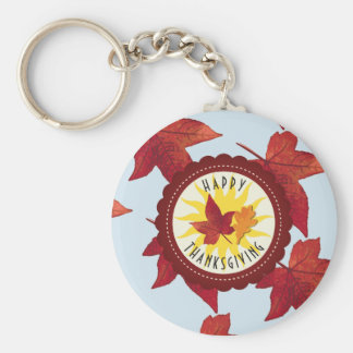 Happy Thanksgiving Sky and Fall Leaves Keychain