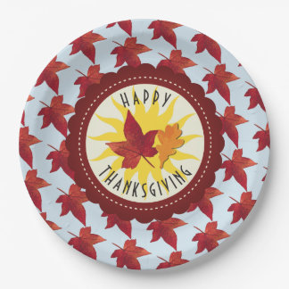 Happy Thanksgiving Sky and Fall Leaves Paper Plate