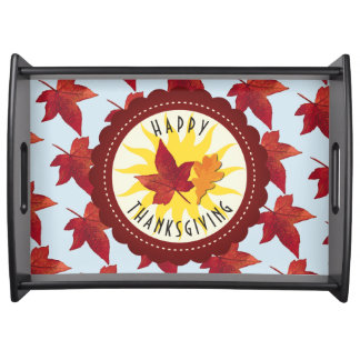 Happy Thanksgiving Sky and Fall Leaves Serving Tray