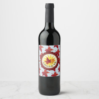 Happy Thanksgiving Sky and Fall Leaves Wine Label