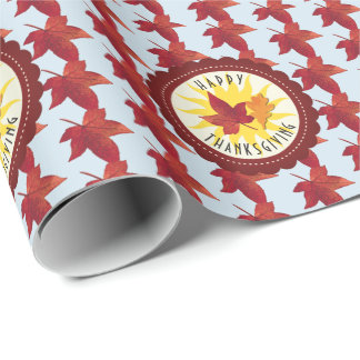 Happy Thanksgiving Sky and Fall Leaves Wrapping Paper
