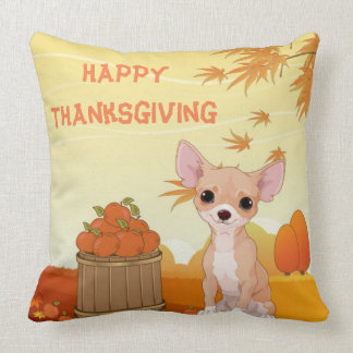 Happy Thanksgiving Tan Chihuahua Throw Pillow