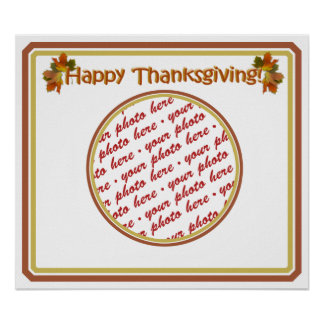 Happy Thanksgiving Text Design  Photo Frame Posters