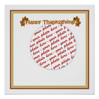 Happy Thanksgiving Text Design  Photo Frame Poster