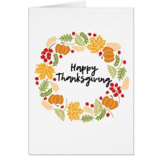 HAPPY THANKSGIVING, Thanksgiving Wreath, Cute Card