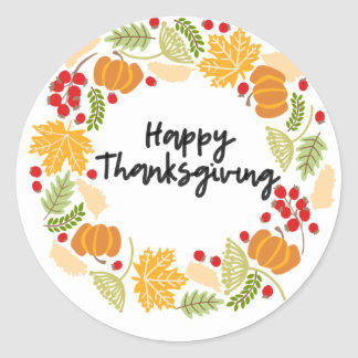 HAPPY THANKSGIVING, Thanksgiving Wreath, Cute Classic Round Sticker