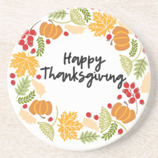 HAPPY THANKSGIVING, Thanksgiving Wreath, Cute Coaster