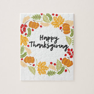 HAPPY THANKSGIVING, Thanksgiving Wreath, Cute Jigsaw Puzzle
