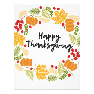HAPPY THANKSGIVING, Thanksgiving Wreath, Cute Letterhead