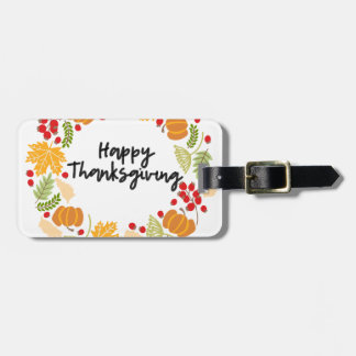 HAPPY THANKSGIVING, Thanksgiving Wreath, Cute Luggage Tag