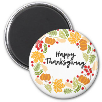HAPPY THANKSGIVING, Thanksgiving Wreath, Cute Magnet