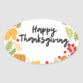 HAPPY THANKSGIVING, Thanksgiving Wreath, Cute Oval Sticker