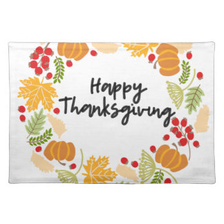 HAPPY THANKSGIVING, Thanksgiving Wreath, Cute Placemat