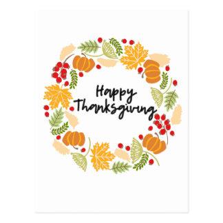 HAPPY THANKSGIVING, Thanksgiving Wreath, Cute Postcard