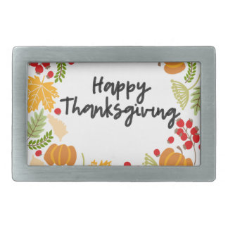 HAPPY THANKSGIVING, Thanksgiving Wreath, Cute Rectangular Belt Buckles