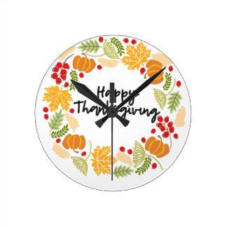 HAPPY THANKSGIVING, Thanksgiving Wreath, Cute Round Clock