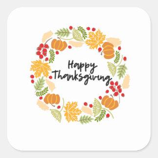 HAPPY THANKSGIVING, Thanksgiving Wreath, Cute Square Sticker