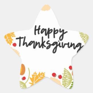 HAPPY THANKSGIVING, Thanksgiving Wreath, Cute Star Sticker