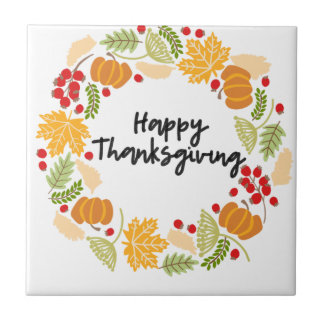 HAPPY THANKSGIVING, Thanksgiving Wreath, Cute Tile