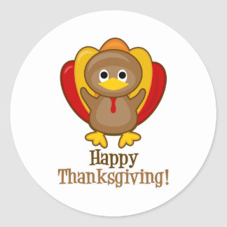 Happy Thanksgiving Turkey Classic Round Sticker