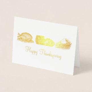 Happy Thanksgiving Turkey Cranberry Pumpkin Pie Foil Card
