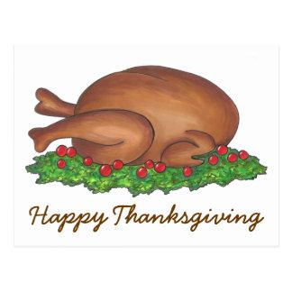 Happy Thanksgiving Turkey Dinner Holiday Postcard