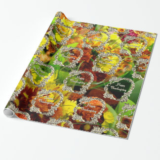Happy Thanksgiving Turkey Floral Autumn Flowers Wrapping Paper