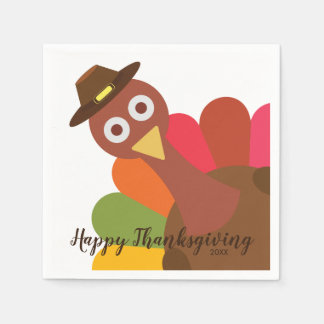 Happy Thanksgiving Turkey in Pilgrim Hat Custom Disposable Napkin