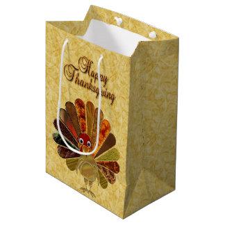 Happy Thanksgiving Turkey - Medium Gift Bag