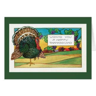 Happy Thanksgiving-Turkey on Farm, Rural Greeting Card