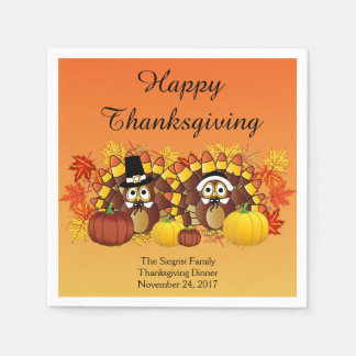 Happy Thanksgiving Turkey Owl Pilgrims Disposable Napkins