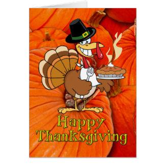 Happy Thanksgiving -Turkey Pilgrim, Pumpkin Pie Card