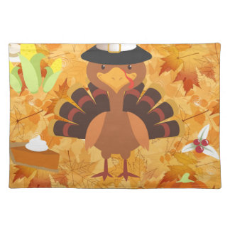 happy thanksgiving turkey placemat