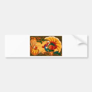 Happy Thanksgiving Turkey Pumpkin Bumper Sticker