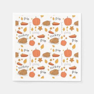 Happy Thanksgiving Turkey & Pumpkin Pie Paper Napkin