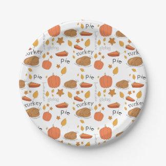 Happy Thanksgiving Turkey & Pumpkin Pie Paper Plate