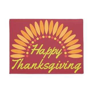 Happy Thanksgiving Turkey Tail Door Mat