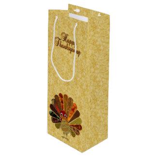 Happy Thanksgiving Turkey - Wine Gift Bag