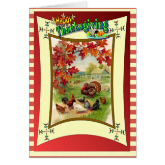 Happy Thanksgiving - Turkeys and chickens Card