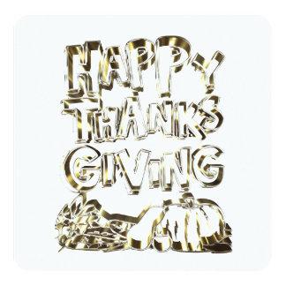 Happy Thanksgiving Typography Gold Harvest Pumpkin Card