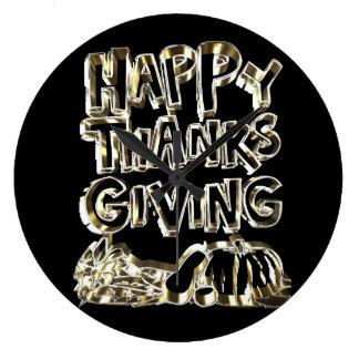 Happy Thanksgiving Typography Gold Harvest Pumpkin Large Clock