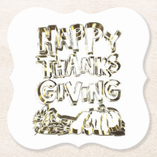 Happy Thanksgiving Typography Gold Harvest Pumpkin Paper Coaster