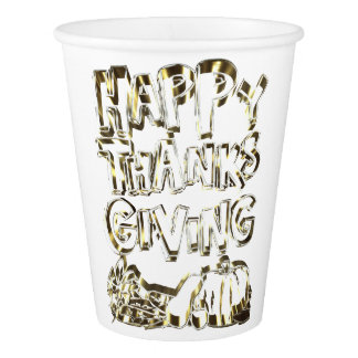 Happy Thanksgiving Typography Gold Harvest Pumpkin Paper Cup