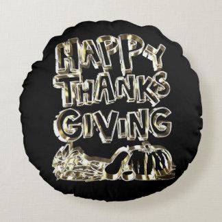 Happy Thanksgiving Typography Gold Harvest Pumpkin Round Pillow