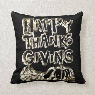 Happy Thanksgiving Typography Gold Harvest Pumpkin Throw Pillow