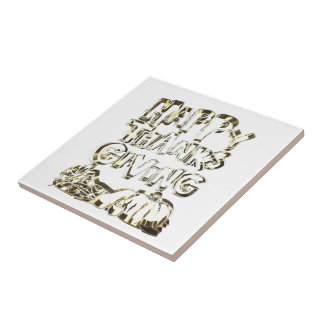 Happy Thanksgiving Typography Gold Harvest Pumpkin Tile