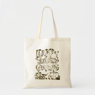 Happy Thanksgiving Typography Gold Harvest Pumpkin Tote Bag