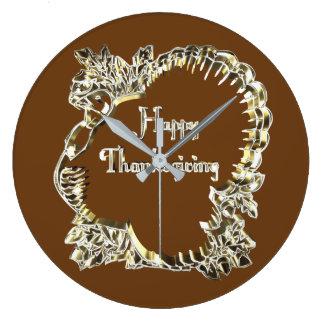 Happy Thanksgiving Typography Golden Turkey Large Clock